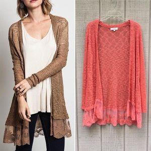 Umgee coral orange lace panel hem cardigan sweater